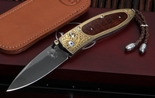 William Henry B05 Monterey Damascus, Gold and Snakewood Folding Knife