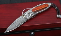 William Henry B05 Sovereign Monarch - Carved Silver Damascus Folding Knife