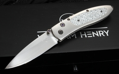 William Henry B05 Steam Silver Twill Folding Knife