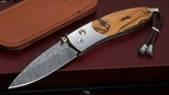 William Henry B05 Arrow Bocote and Damascus Folding Knife