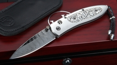 William Henry B05 Tomb Monarch - Carved Silver, Damascus Folding Knife