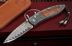William Henry B05 Hilo Monarch - Damascus and Koa Wood Folding Knife