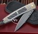 William Henry B06 Stratify Herring Bone, Gold and Damascus Folding Knife