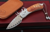 William Henry B09 South Pacific - Koa Wood Damascus Folding Knife