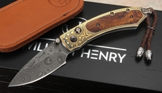 William Henry B09 Kingston Kestrel - Desert Ironwood, Koftgari and  Damascus Folding Knife