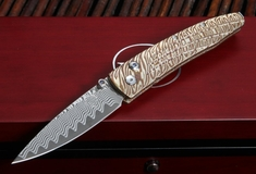 William Henry B10 Crawford Lancet - Tiger Mokume and Damascus Folding Knife