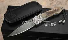 William Henry B10 Flight - Lancet Carved Silver, Mammoth and Damascus
