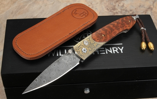 William Henry B10 Overlook - Damascus, Snakewood and Gold Folding Knife