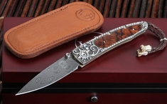 William Henry B10 Red Springs Lancet -  Carved Silver Damascus Folding Knife