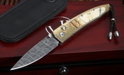 William Henry B10 Riddle - Gold & Damascus Folding Knife