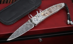 William Henry B10 Ridgeback Lancet - Damascus Folding Knife