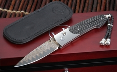 William Henry B10 Transistor Damascus Folding Knife