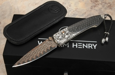 William Henry B10 Auburn Damascus Folding Knife