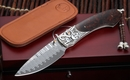 William Henry B12 Deadwood Carved Silver Damascus Folding Knife