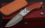 William Henry B12 Dragon Fire Carved Silver Damascus Folding Knife