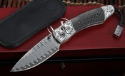 William Henry B12 Immortal Spearpoint - Carved Silver & Damscus Folding Knife