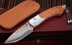William Henry B12 Keelback Copper Wave Damascus Folding Knife