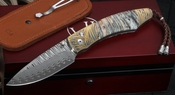 William Henry B12 Savanna Gold Koftgari and Damascus Folding Knife