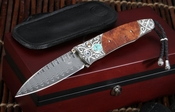 William Henry B30 Cripple Creek Carved Silver & Damascus Folding Knife