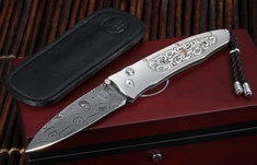 William Henry B30 Tendril Gentac - Damascus Folding Knife