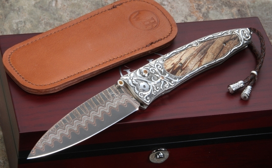 William Henry B30 Vine Folding Knife - Copper Wave and Carved Silver
