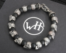 William Henry BB4 Sterling Silver Skull Bead & Black Onyx Bracelet