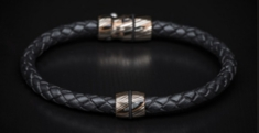 William Henry LB1 Braided Leather and Mokume Bolt Action Bracelet