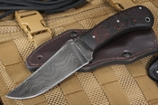 Exclusive Winkler Damascus Belt Knife - Tribal Pattern Maple Handle