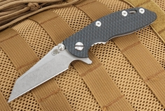 "Rick Hinderer XM-18 3"" Black and Blue Wharncliffe Flipper"