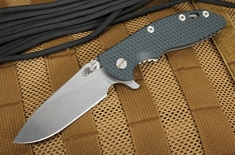 "Rick Hinderer XM-18 3.5"" Slicer - Black and Green G-10 Flipper"