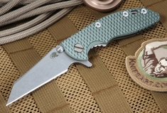 "Rick Hinderer XM-18 3"" Green and Tan Wharncliffe Folding Knife"