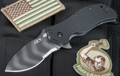 Zero Tolerance 0350TSST Serrated - Tiger Stripe Assited Opening Knife