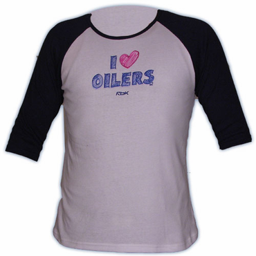 CCM 5166 Heart Womens Short Sleeve Hockey Shirt - Edmonton Oilers