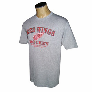 NHL Senior Short Sleeve Hockey Shirt - Detroit Red Wings - Gray