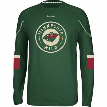 Reebok Face Off Senior Long Sleeve Hockey Shirt - Minnesota Wild