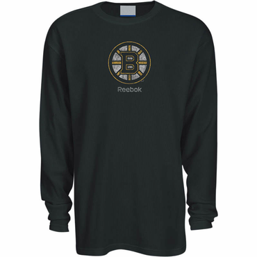 Reebok Faded Primary Logo Long Hockey Sleeve Shirt - Boston Bruins