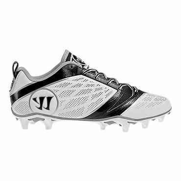 Warrior Burn 6.0 Low Lacrosse Cleats - White/Black - Adult