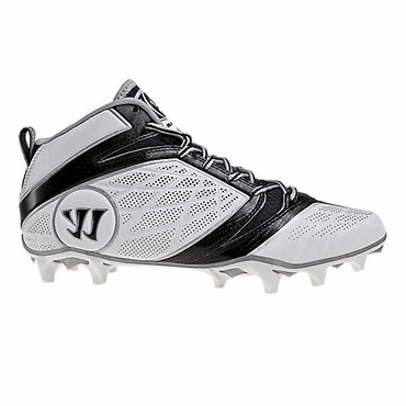 Warrior Burn 6.0 Mid Senior Lacrosse Cleats - White/Black