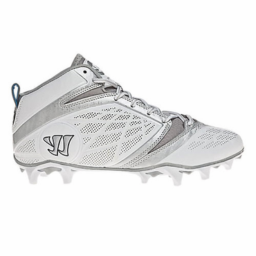 Warrior Burn 6.0 Mid Lacrosse Cleats - White - Adult