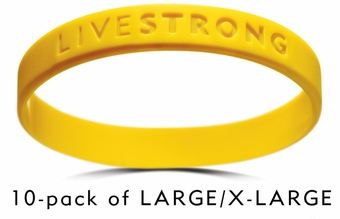 LIVESTRONG Wristbands, 10 Pack - Large/X-Large