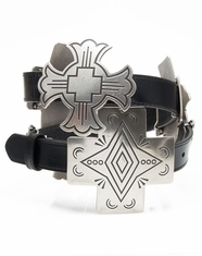 3D Angel Ranch Women's Cross Concho Belt - Black/Antique Silver