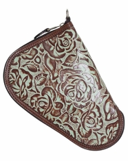 3D Floral Tooled Pistol Case - Vintage Brown/Turquoise