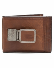 3D Mens Bi Fold Money Clip Wallet - Brown