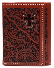 3D Mens Cowhide Cross Tri Fold Wallet - Tan Acorn