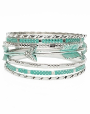 3D Silver Strike Women's Arrow Bangle Bracelet Set - Silver/Turquoise