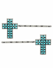 3D Silver Strike Women's Beaded Cross Hairpins