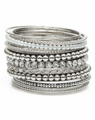 3D Silver Strike Women's Multi Bangle Bracelet Set - Silver