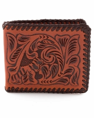 3D Tooled Lace Bifold Wallet - Brown
