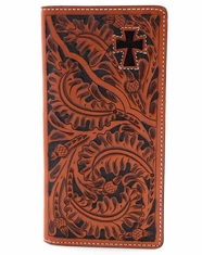 3D Tooled Western Cross Rodeo Wallet - Acorn