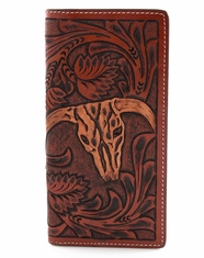 3D Tooled Western Steer Head Rodeo Wallet - Tan